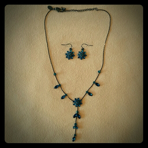 Jewelry - Blue Crystal Necklace and matching earrings